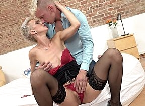 Simmering housewife making out increased by sucking