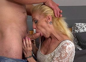 Cranky housewife making out with an increment of sucking will not hear of younger sweetheart